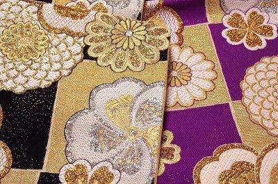 画像2: ■京都西陣織「大光織物謹製」 煌びやかで豪華な 黒色 金色 紫色 振袖に最適 変わり結び 長尺 正絹 袋帯■