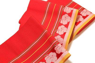 画像3: ■本場筑前博多織 「原田織物謹製:緑印」 赤色系 夏の着物や浴衣に 四寸単 正絹 半幅帯■