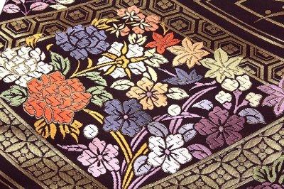 画像3: ■「京都西陣-白寿苑謹製」 瑞花菱取文様 黒鳶色 正絹 袋帯■
