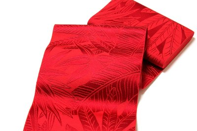 画像2: ■本場筑前博多織 「西村織物謹製:緑印」 赤色系 夏の着物や浴衣に 四寸単 正絹 半幅帯■