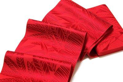画像3: ■本場筑前博多織 「西村織物謹製:緑印」 赤色系 夏の着物や浴衣に 四寸単 正絹 半幅帯■