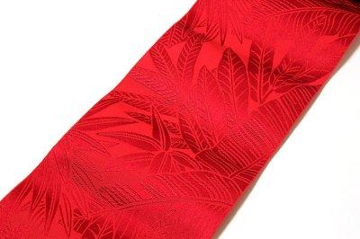 画像1: ■本場筑前博多織 「西村織物謹製:緑印」 赤色系 夏の着物や浴衣に 四寸単 正絹 半幅帯■