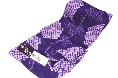 画像1: ■伝統工芸品 有松鳴海絞り 青紫色 最高級 浴衣■