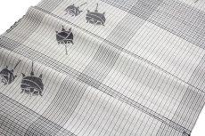 画像3: ■「伝統工芸」 筬乃音 グレー色系 格子柄 正絹 紬■ (3)