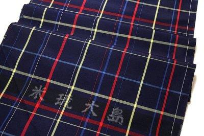 画像2: ■【訳あり】「米琉大島」 格子柄 濃紺色系 オシャレな アンサンブル 羽織 着物 正絹 紬■