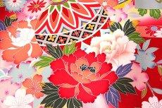 画像3: ■色とりどりの花模様 染め分けボカシ マリ柄 女児 産着 掛け着 七五三 お宮参り 正絹 祝着物■ (3)