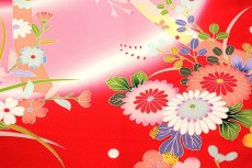 画像6: ■色とりどりの花模様 染め分けボカシ マリ柄 女児 産着 掛け着 七五三 お宮参り 正絹 祝着物■ (6)