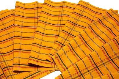 画像2: ■「日本製」 格子柄 オシャレな 黄八 アンサンブル 羽織 着物 正絹 紬■