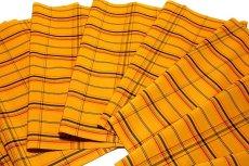 画像2: ■「日本製」 格子柄 オシャレな 黄八 アンサンブル 羽織 着物 正絹 紬■ (2)