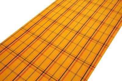 画像1: ■「日本製」 格子柄 オシャレな 黄八 アンサンブル 羽織 着物 正絹 紬■