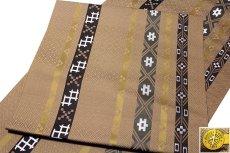 画像3: ■京都西陣織「三幸織物謹製」 地紋 オシャレな 正絹 九寸 名古屋帯■ (3)