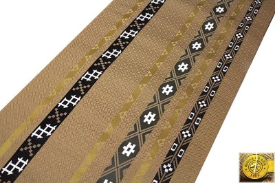 画像1: ■京都西陣織「三幸織物謹製」 地紋 オシャレな 正絹 九寸 名古屋帯■