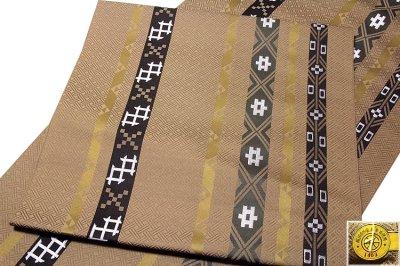 画像2: ■京都西陣織「三幸織物謹製」 地紋 オシャレな 正絹 九寸 名古屋帯■