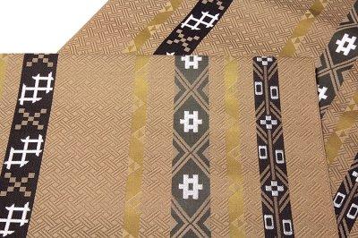 画像3: ■京都西陣織「三幸織物謹製」 地紋 オシャレな 正絹 九寸 名古屋帯■