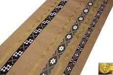 画像2: ■京都西陣織「三幸織物謹製」 地紋 オシャレな 正絹 九寸 名古屋帯■ (2)