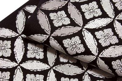 画像3: ■京都西陣織 「丸勇謹製:京彩涼」 七宝柄 単衣着物や夏着物に最適 黒色 単衣 夏物 正絹 袋帯■