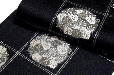 画像3: ■京都西陣織 「丸勇謹製:粋涼」 単衣着物や夏着物に最適 黒色 銀糸織 単衣 夏物 正絹 袋帯■