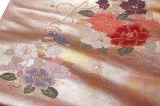 画像3: ■京都西陣織「よこくに謹製」 引箔 可愛らしい花柄 オシャレ 正絹 九寸 名古屋帯■ (3)