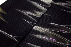 画像3: ■京都西陣織 「沢本織物謹製」 聖涼織成帯 【いろは】 黒色 流水に水玉 煌びやかな金糸織 夏物 絽 正絹 高級 袋帯■ (3)