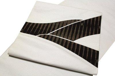 画像1: ■「伝統技法:きりばめ」 切嵌め パッチワーク風 絣模様 浮き織り 正絹 九寸 高級 名古屋帯■