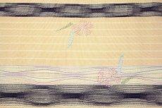 画像3: ■「刺し子刺繍」 ベージュ色系 縞 オシャレ 単衣着物にもおすすめ 八寸 正絹 名古屋帯■ (3)