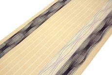 画像4: ■「刺し子刺繍」 ベージュ色系 縞 オシャレ 単衣着物にもおすすめ 八寸 正絹 名古屋帯■ (4)