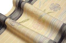 画像2: ■「刺し子刺繍」 ベージュ色系 縞 オシャレ 単衣着物にもおすすめ 八寸 正絹 名古屋帯■ (2)