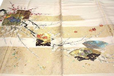 画像1: ■【訳あり】「お好みの色に染める-白生地」 名宝絵図 箔扇琳派図 紅白梅 燕子花 四季草花 まるで刺繍のような縫い取り 丹後ちりめん 正絹 色留袖■