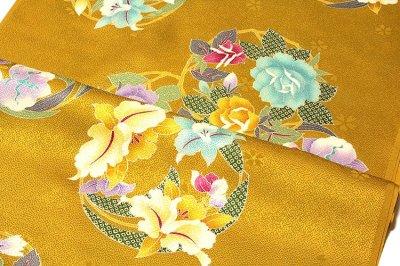 画像2: ■「最高級-振袖用」 花輪柄 黄金色 小松ちりめん 日本製 正絹 長襦袢■