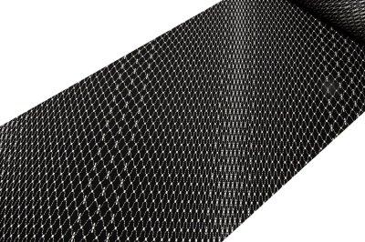 画像1: ■黒地 粋でオシャレな 網目模様 地紋 正絹 小紋■