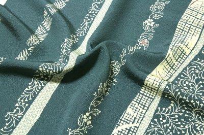 画像3: ■草花模様 縞柄 高級ちりめん生地使用 オシャレ 正絹 小紋■