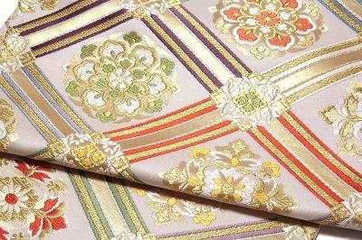 画像3: ■「慶長菱取華文-白寿苑謹製」 訪問着 フォーマル 京都西陣織 白色系 正絹 高級 袋帯■