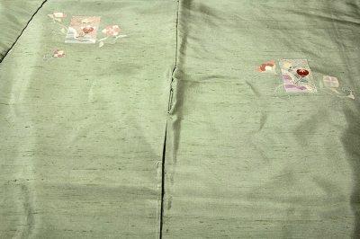 画像2: ■「つむぎ生地」 ボカシ染め 唐花模様 金彩加工 紬 正絹 訪問着■