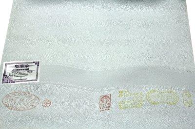 画像3: ■「日本の絹:丹後ちりめん生地使用」 藍白色系 地紋 堅牢染 正絹 色無地■