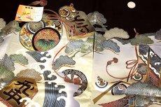 画像3: ■【訳あり】「正絹 男の子 のしめ 一つ身」 日本製 将棋の駒 瓢箪柄 宝尽くし 金彩銀彩加工 松柄 綸子生地 男児 七五三 祝着物■ (3)