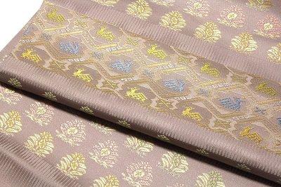 画像3: ■京都西陣織 「箔屋清兵衛:陰山織物謹製」 欧亜吉祥文 鹿草木 正絹 袋帯■