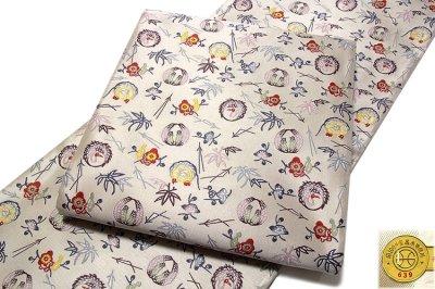 画像2: ■「京都西陣織:(有)山田幸謹製」 薄グレー色系 紹巴紅型 正絹 袋帯■