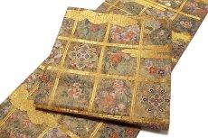 画像3: ■「格天花鳥絵文」 金色系 華やかで煌びやかな 全通柄 正絹 袋帯■ (3)