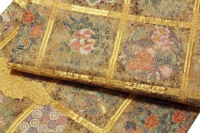 画像3: ■「格天花鳥絵文」 金色系 華やかで煌びやかな 全通柄 正絹 袋帯■