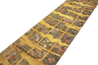 画像1: ■「格天花鳥絵文」 金色系 華やかで煌びやかな 全通柄 正絹 袋帯■