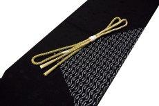 画像1: ■「正絹」 黒色 粋でオシャレ 帯揚げ 丸組 帯締め セット■ (1)