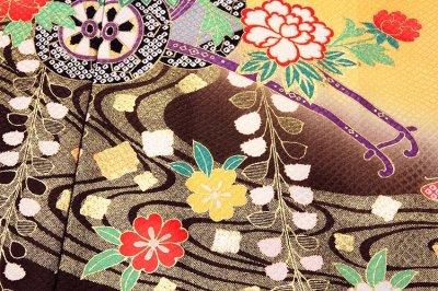 画像3: ■【訳あり】花車 ボカシ染め 金彩加工 蝶々柄 七五三 四ッ身 正絹 仮絵羽 未仕立て品 着物■