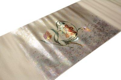 画像1: ■【訳あり】「螺鈿入り」 豪華な引箔 花模様 太鼓柄 正絹 九寸 名古屋帯■