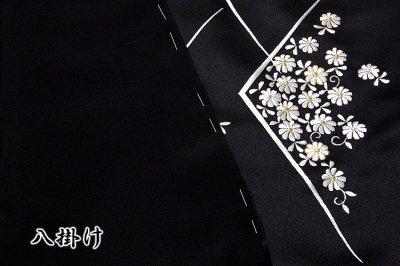 画像3: ■「贅沢な総刺繍」 黒色 柄全てが細やかな刺繍 七宝 菊梅笹 高級ちりめん生地使用 正絹 付下げ 訪問着■