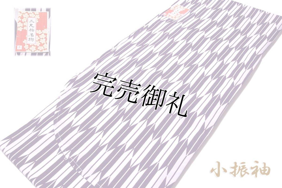 画像1: ■「新品:仕立て上がり:二尺袖」 卒業式 身長:158cm-168cmまでのお方に最適 矢羽根柄 葡萄色に白色系 洗える着物■ (1)