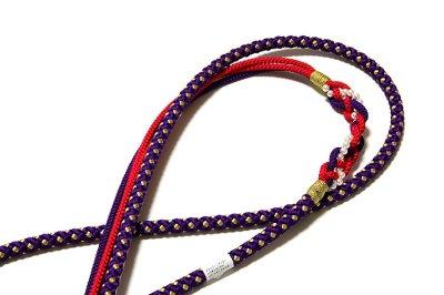 画像3: ■【訳あり】ハート柄 紫色 帯揚げ 金糸織 飾りつき 丸組 帯締め セット■