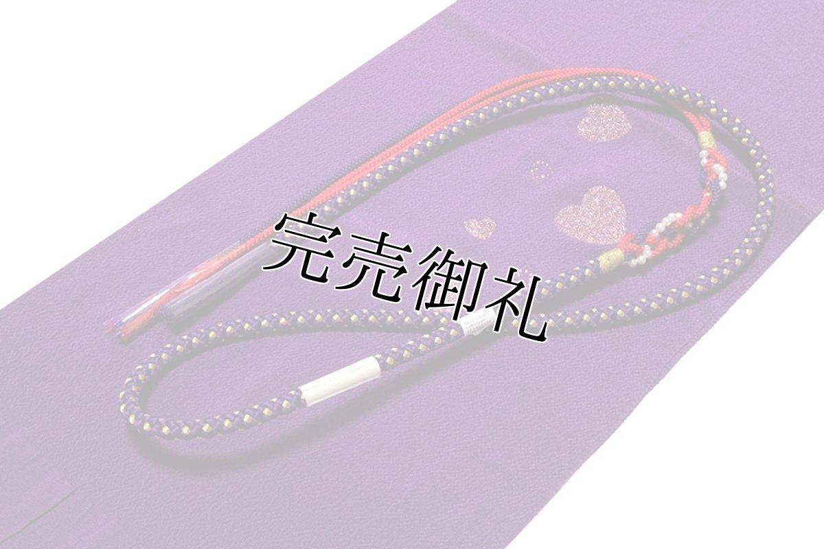 画像1: ■【訳あり】ハート柄 紫色 帯揚げ 金糸織 飾りつき 丸組 帯締め セット■ (1)