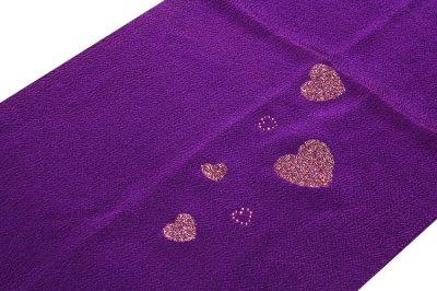 画像1: ■【訳あり】ハート柄 紫色 帯揚げ 金糸織 飾りつき 丸組 帯締め セット■