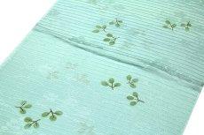 画像2: ■「正絹 夏物 絽」 涼しげな 白藍色系 地模様 帯揚げ 平組 帯締め セット■ (2)