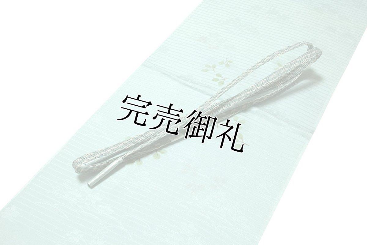 画像1: ■「正絹 夏物 絽」 涼しげな 白藍色系 地模様 帯揚げ 平組 帯締め セット■ (1)